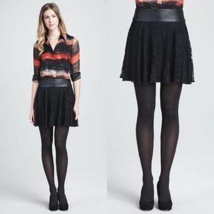 Alice + Olivia Black Shawnee Leather & Lace Skirt